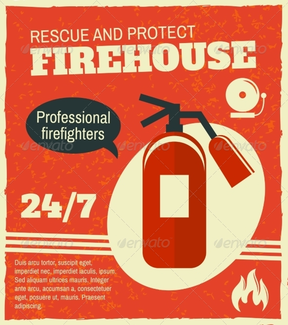 GraphicRiver Firefighting Retro Poster 8070633