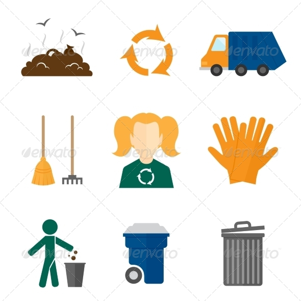 GraphicRiver Garbage Icons Flat 8070636