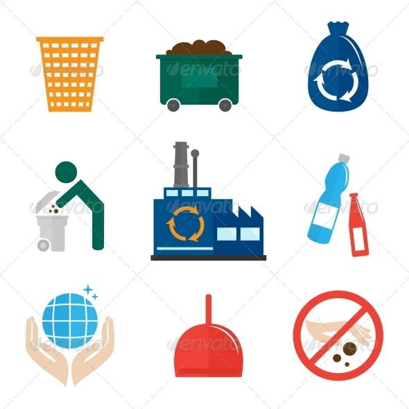 GraphicRiver Garbage Icons Flat 8070637