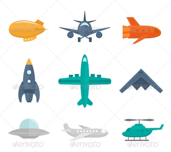 GraphicRiver Aircraft Icons Flat 8070639