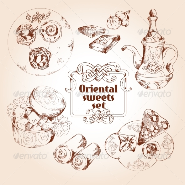 GraphicRiver Oriental Sweets Sketch Set 8070642
