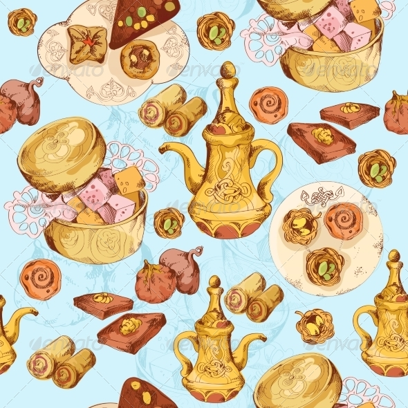 GraphicRiver Oriental Sweets Seamless Background 8070644