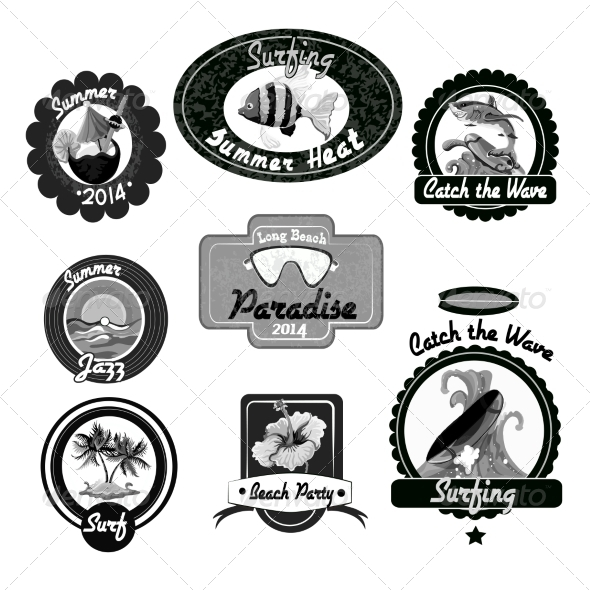 GraphicRiver Surfing Emblems Black 8070659