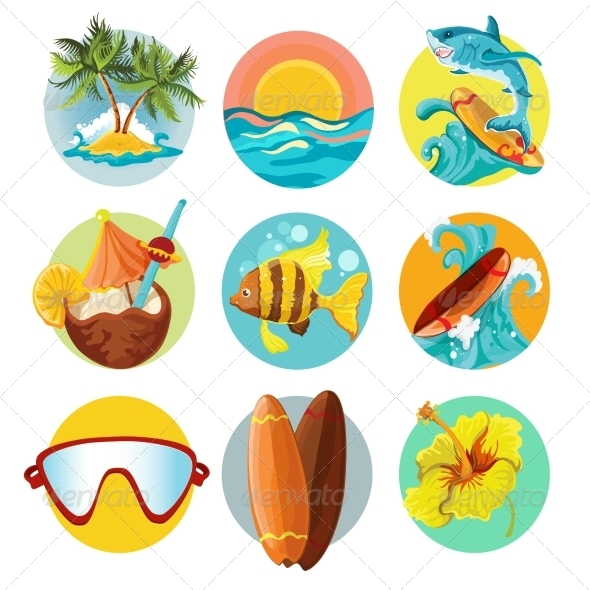 GraphicRiver Surfing Icons Set 8070661
