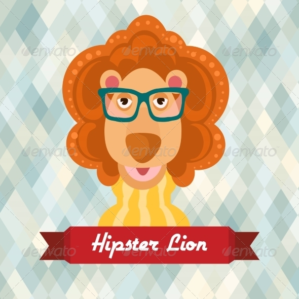GraphicRiver Hipster Lion Poster 8070663