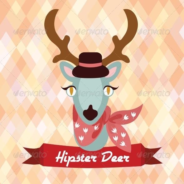 GraphicRiver Hipster Deer Poster 8070665