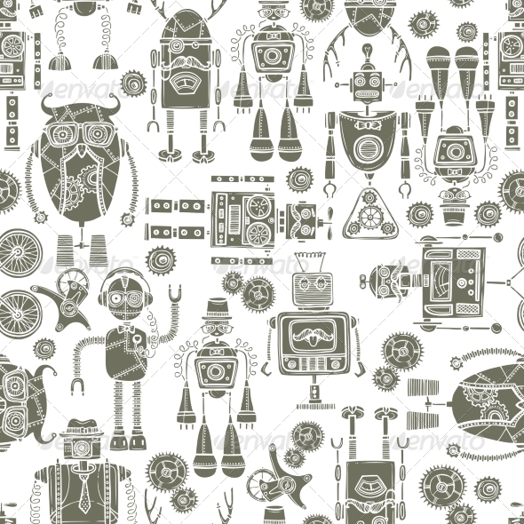 GraphicRiver Hipster Robot Seamless Pattern Black and White 8070677
