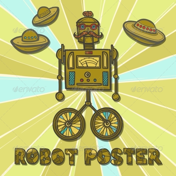 GraphicRiver Hipster Robot Design 8070678