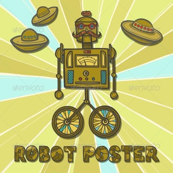 GraphicRiver Hipster Robot Design 8070678