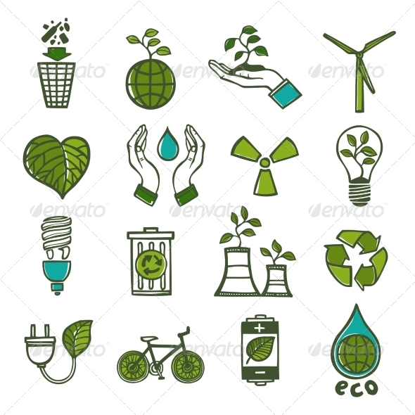 GraphicRiver Ecology and Waste Icons Set Color 8070679