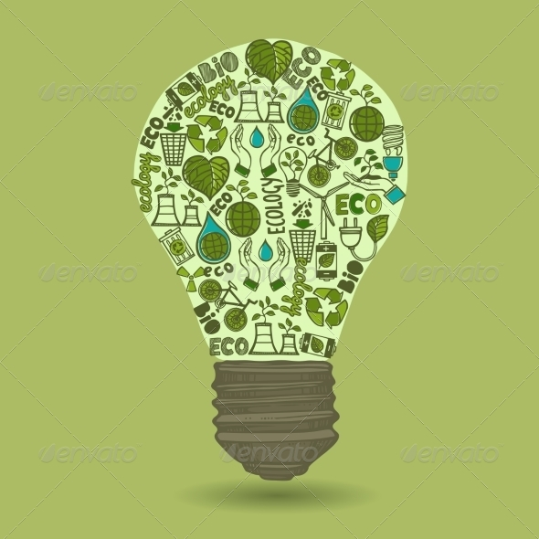 Lightbulb with Sketch Ecology and Waste Icons