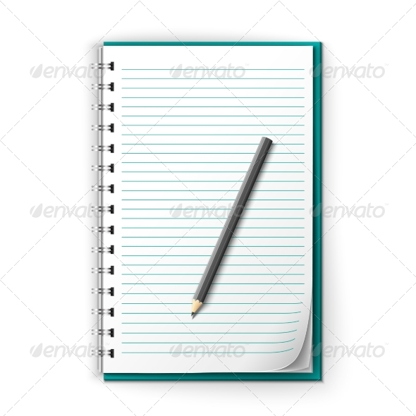 GraphicRiver Lined Notepad and Pencil 8070681
