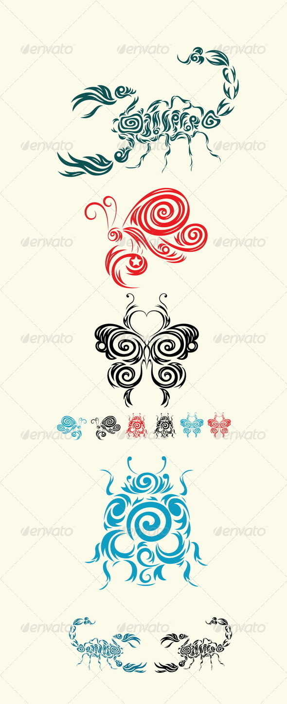 GraphicRiver Scorpion Butterfly and Ladybug 8070700