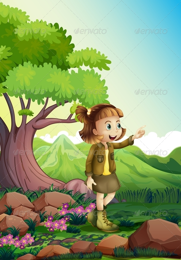 GraphicRiver Girl Exploring in Nature 8070876