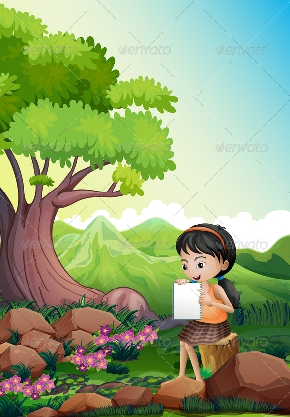 GraphicRiver Girl Doing Assignment Outdoors 8070894