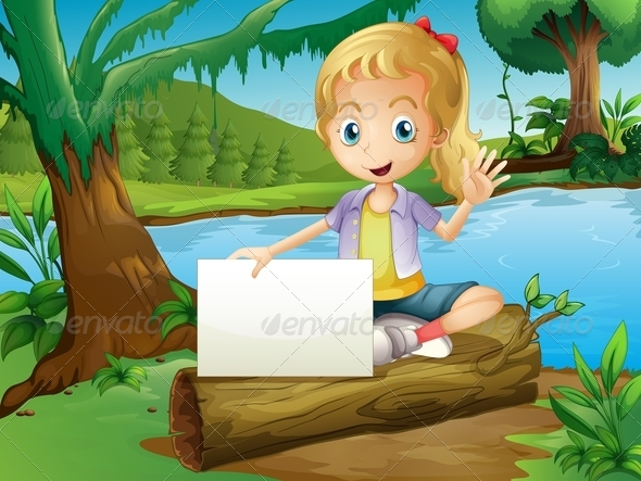 GraphicRiver Girl Sitting on Log with Empty Sign 8070902