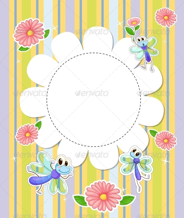GraphicRiver Stationery Template with Flowers and Insects 8070903