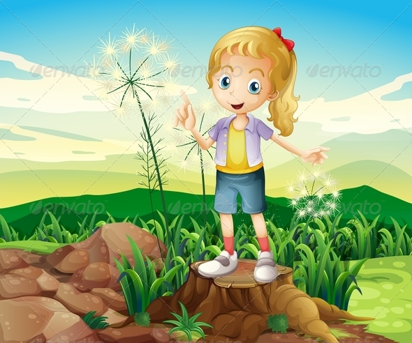 GraphicRiver Young Girl Standing in Nature 8070906
