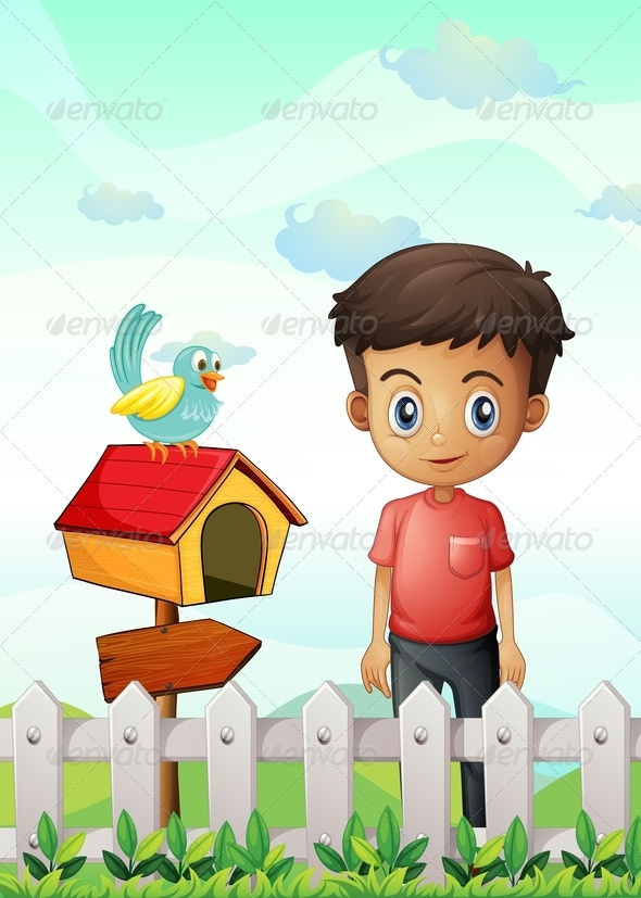 GraphicRiver Boy Near the Birdhouse 8070909