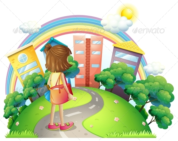 GraphicRiver Girl walking to Town 8070911