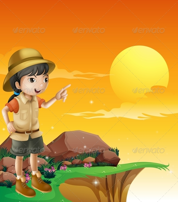 GraphicRiver Explorer Standing on the Cliff 8070925