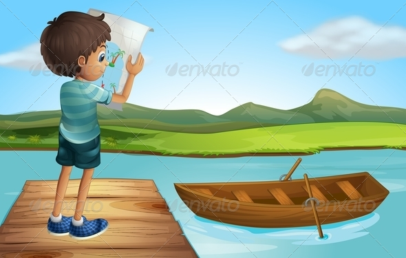 GraphicRiver Boy with a Map at the River 8070933