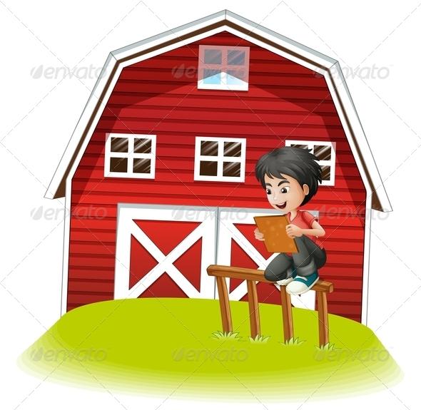 GraphicRiver Boy Reading Near the Barn 8070968