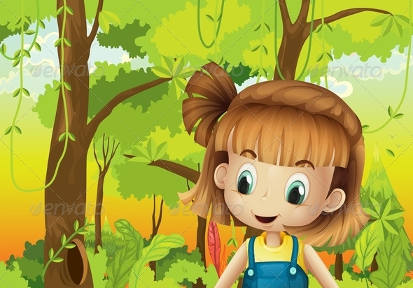 GraphicRiver Girl in the Forest 8070979