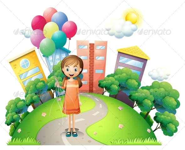 GraphicRiver Girl on the Path with Balloons 8070981