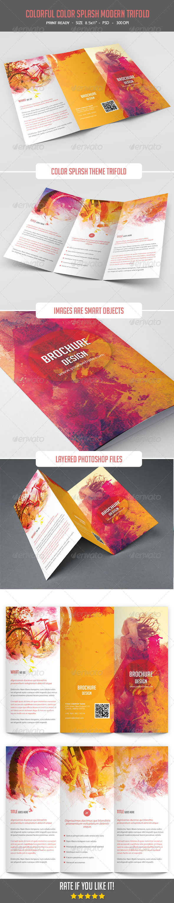 GraphicRiver Colorful Color Splash Modern Trifold 8071012