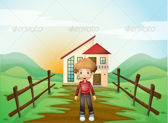 GraphicRiver A Boy in Front of the Concrete House on the Hilltop 8071046