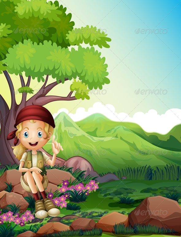 GraphicRiver A Girl Resting Above the Rocks in the Forest 8071049