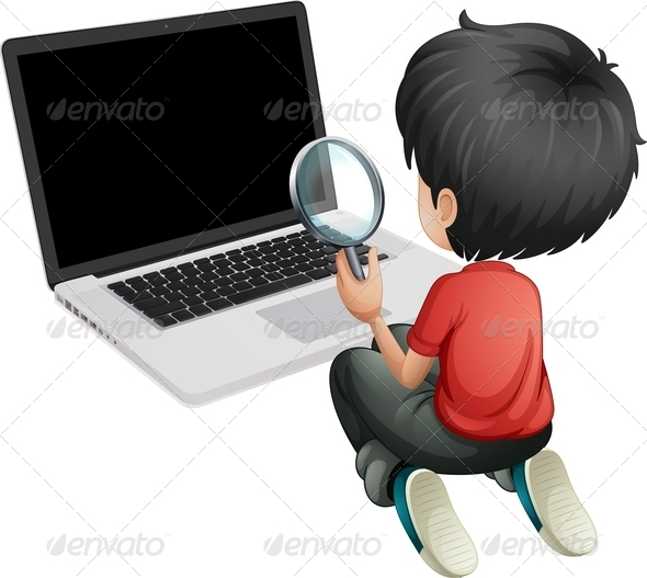 GraphicRiver A Boy in Front of a Laptop Holding a Magnifying Glass 8071051