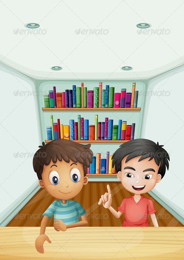GraphicRiver Two Boys in Front of the Bookshelves with Books 8071071