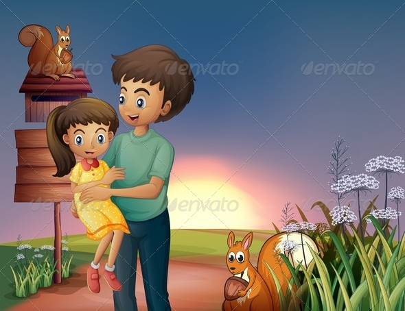 GraphicRiver A Father Carrying his Daughter at the Hilltop 8071079