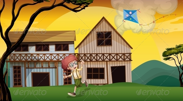 GraphicRiver A Boy Playing with his Kite in Front of the Wooden Barn 8071082