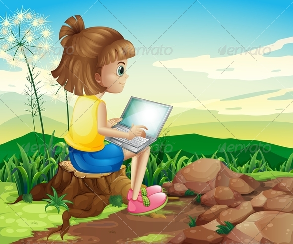 GraphicRiver A Girl Surfing the Net While Sitting on a Stump 8071085