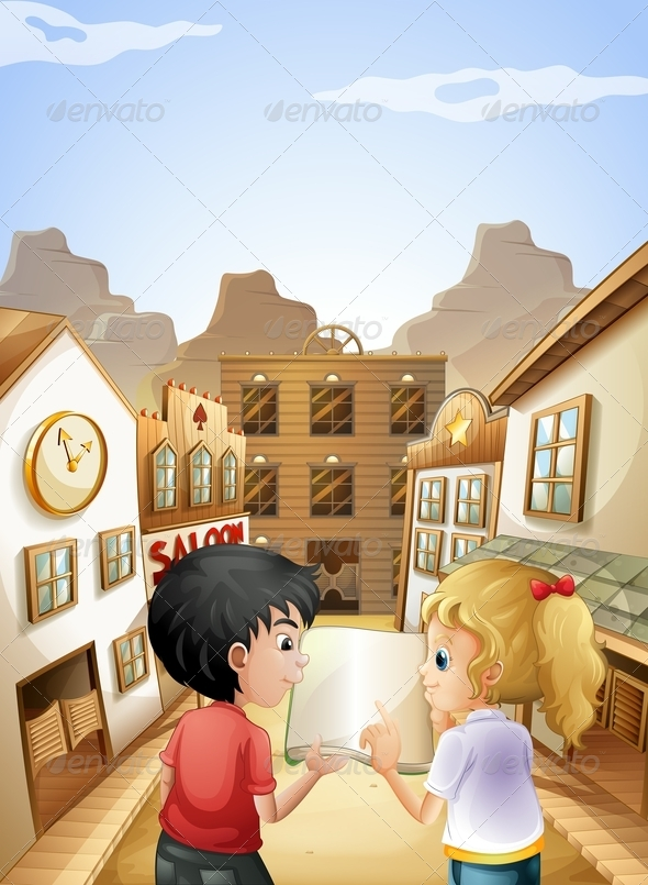GraphicRiver A Boy and a Girl with an Empty Book Talking 8071092