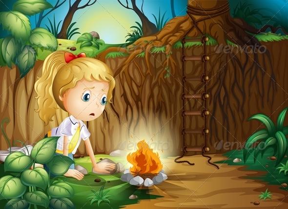 GraphicRiver A Sad Girl Making A Campfire 8071095
