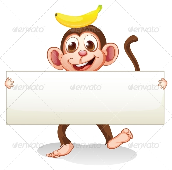 GraphicRiver An Empty Signboard with a Monkey at the Back 8071096