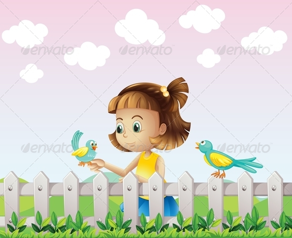 A Young Girl Playing with the Birds near the Fence