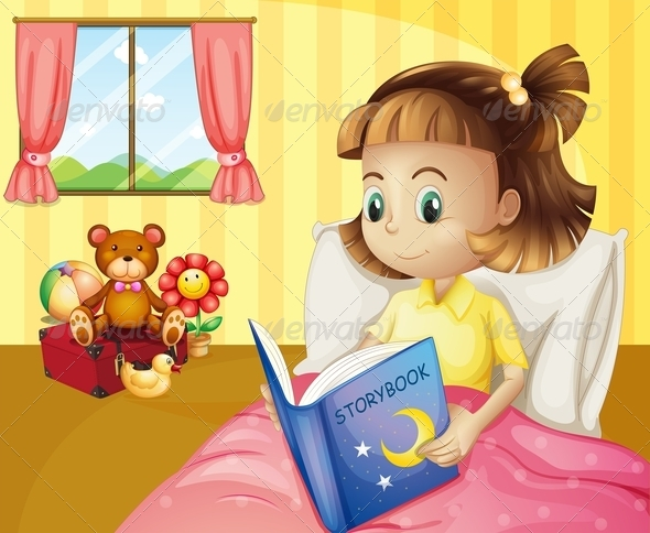 GraphicRiver A Small Girl Reading a Storybook Inside her Room 8071100