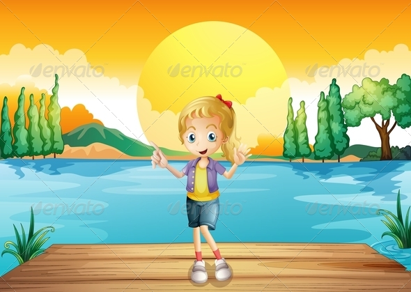 GraphicRiver A Young Girl Standing Above the Wooden Diving Board 8071108