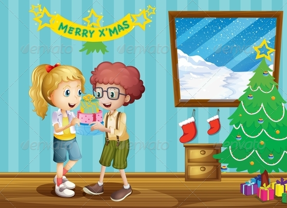 GraphicRiver Two Adorable Kids Exchanging their Christmas Gifts 8071111