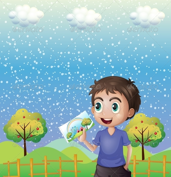 GraphicRiver A Happy Child Holding a Picture with a Rainbow 8071115