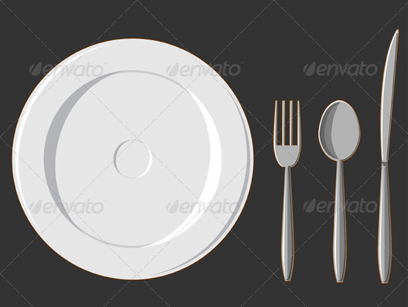 GraphicRiver Dining Set Plate Fork Spoon & Knife 8071116