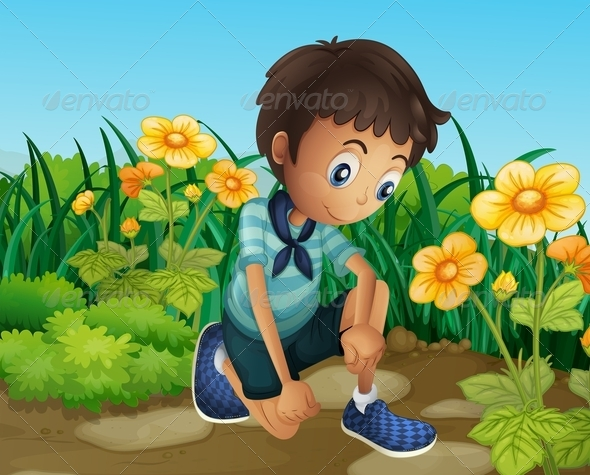 GraphicRiver A Sad Boy Near the Blooming Flowers 8071119