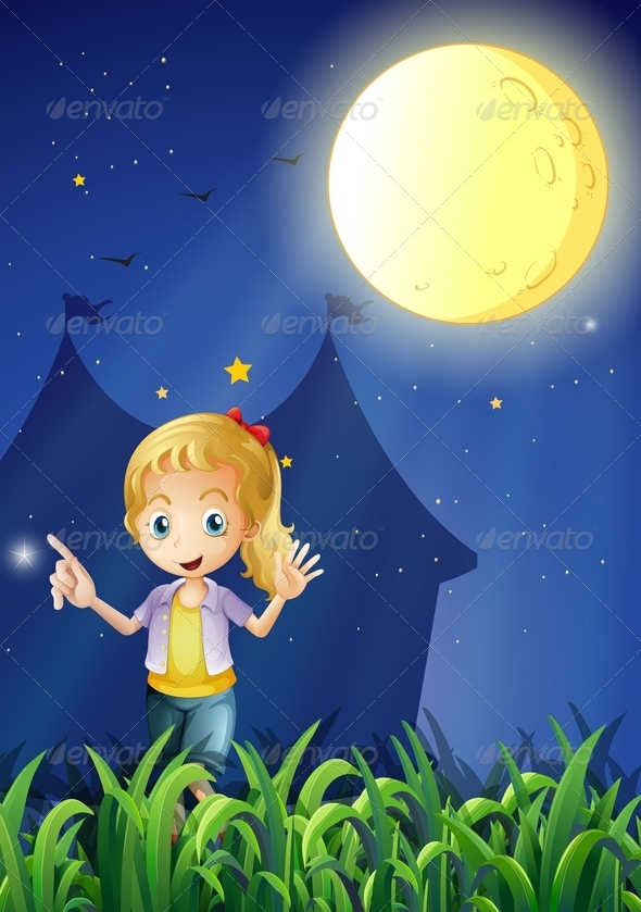 GraphicRiver A Girl Under the Bright Fullmoon 8071128