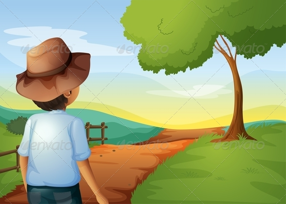 GraphicRiver A Backview of a Young Farmer 8071130