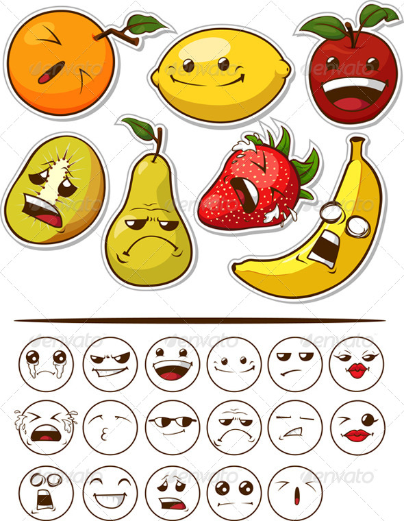 GraphicRiver Funny Fruit with Expression 8071135